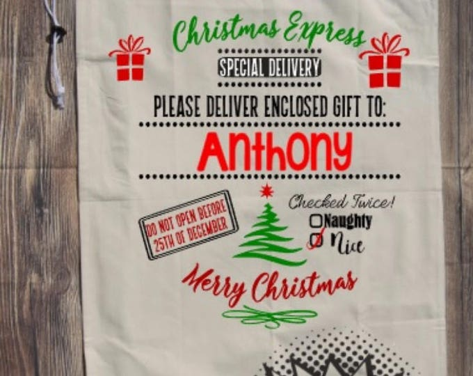 Santa Bag Christmas Sack Personalized Xmas Gift Bag Sack Cloth Reindeer Express Mail Canvas Special Delivery North pole gift Elf Holiday
