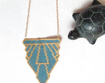 SHOULDER, Japanese blue and Golden Miyuki beads, gold plated necklace