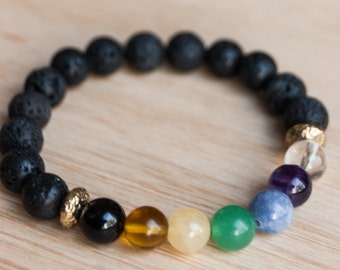 Chakra Bracelet, lava beads, essential oil diffuser, gemstone bracelet, healing crystals, yoga jewelry, reiki energy