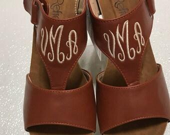 RUST Wedge, Monogrammed Sandals,  Sandals, Personalized Sandals, Wedge, Shoes, Monogram sandals