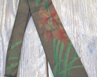 Vintage 80s green silk tie LEONARD 139x9