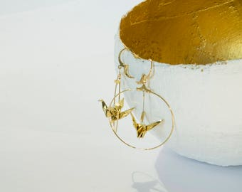 Origami cranes Golden sleepers gold hoop earrings