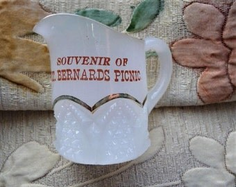 St. Bernard's Catholic Church ...  Old Glass Picnic Souvenir Pitcher -- Religious