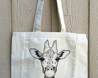 Giraffe tote, medium: sturdy bag, fun, original design, 100% cotton, handmade