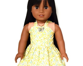 Halter Dress, Floral, Yellow, Blue, Green, White, Summer, 18 inch Doll Clothes, American Doll