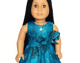 Sleeveless Dress, Outer Space, Universe, Galaxy, Sash, Turquoise Blue, Gold, Fits dolls such as American Girl,  18 inch Doll Clothes, GOTY