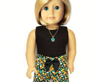 American Doll Clothes - 18 inch Doll Clothes – Print Shorts, Floral, Multi-color, Turquoise, Black, Orange, Flowers, Summer