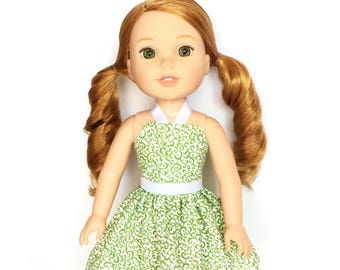 Halter Dress, Floral, Green, White, 14.5, Fits dolls such as AG, Wellie Wishers, 14 inch Doll Clothes