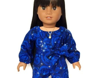 Shorts, Romper, Sash, Outer Space, Galaxy, Luciana, Royal Blue, Gold, 18 inch Doll Clothes, Fits dolls such as American Girl, GOTY