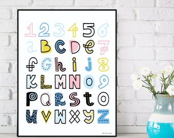 Alphabet and numbers poster, Alphabet letters, Kids room decor, Alphabet print, Children poster, Alphabet wall art, Nursery alphabet