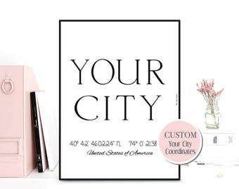 Custom city poster, Custom city print, Personalized city poster, Custom wall decor, GPS coordinates custom, Design poster black and white