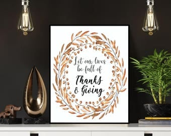 Thanksgiving sign, Thanks and giving, Thankful sign, Give thanks sign, Give thanks printable, Thanksgiving printable, Thanksgiving decor