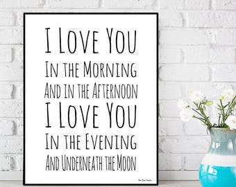 Kids Christmas gift, I love you poster, Children Christmas gift, Love quote poster, Underneath the moon, kids room decor, Baby birth gift
