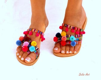 Goa LEATHER Sandals, Pom Pom sandals, Colorful  Sandals, boho Sandals,Leather Sandals, Greek Sandals, Bohemian Style, Handmade Sandals