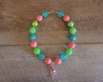 Troll Chunky Necklace, Poppy Chunky Necklace, Baby Necklace, Bubblegum Bead Necklace, Trolls Birthday, Cake Smash Necklace, Photo Prop