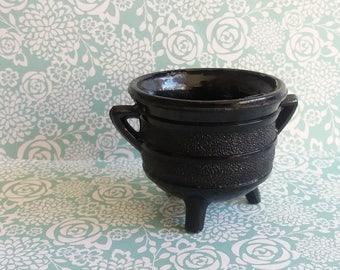 Victorian 1880's Davidson Black Milk Glass Cauldron Bowl - Handled with Tripod legs