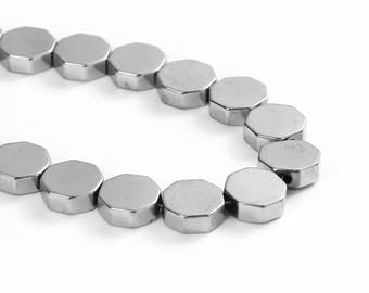 10 pearls 8mm silver color Hematite hexagon shaped / polygon / flat beads