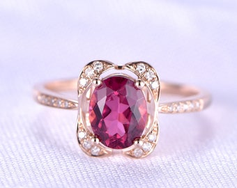 Tourmaline Engagement Ring 6x8mm Oval Cut Pink Tourmaline Floral Cushion Diamond Halo Diamond Wedding Band 14k Rose Gold Anniversary Ring