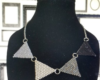 Black and Silver Bunting Peyote Necklace