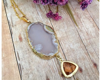 Agate Pendant Necklace, Stone Necklace, White Agate Pendant, Gemstone Necklace, Boho Necklace, Boho Chic Necklace