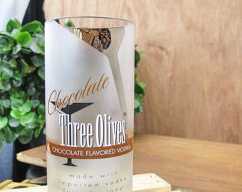 fun booze gift for drinker Three Olives Vintage Chocolate Vodka upcycled Glass Tumbler or vase centerpiece gift gift for friend friend gift