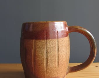 Pottery mug, woodfired orange and copper-colored coffee mug, handmade pottery, ceramic cup