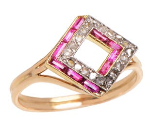 Dazzling Deco Ruby and Diamond 14KT. Gold Ring
