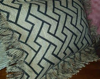 Small burlap pillow, chevron pattern, fringe