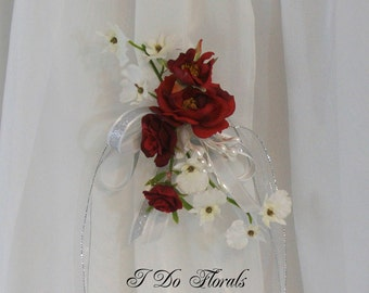 Red Rose Corsage, Red Rose and White Orchid Corsage, Red and White Corsage, Wedding Corsage, Red Shoulder Corsage, Red Rose  Wrist Corsage