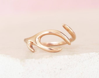 Solid 9ct Rose Gold Antler Ring gift for her