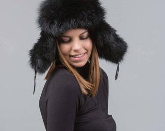 Fox fur trapper hat, ushanka hat , russian fur hat,black fox fur, fur hat,  fox fur, winter hat, cossack hat, trapper hat