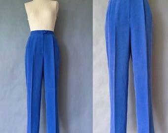 Vintage 100% silk minimalist pants/trousers cobalt blue women's size S/M/L