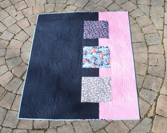 Modern Pink and Navy Baby Quilt