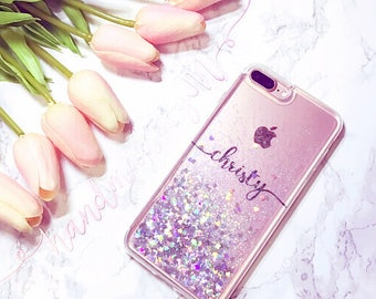 Liquid Floating Glitter Handmade Sparkle Fading Transparent Phone Case 5 /5s /SE /6/6s/7 plus iPhone case Samsung s6/S7/S8 edge+ Clear