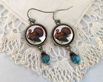Victorian Turkey earrings- Thanksgiving Earrings