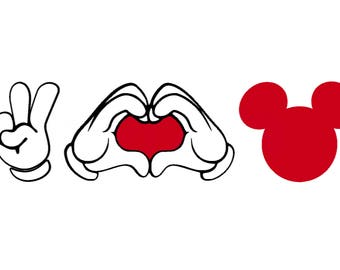Peace Love Mickey Mouse Decal Girl Outfit Valentine's Day newlyweds birthday party honeymoon husband wife Disney Iron On Vinyl for Shirt 137