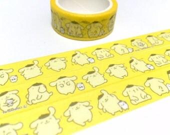 yellow pet dog washi tape 5M pudding dog Purin masking tape deco sticker dog theme fat cartoon dog comic dog decor tape sticker yellow tape
