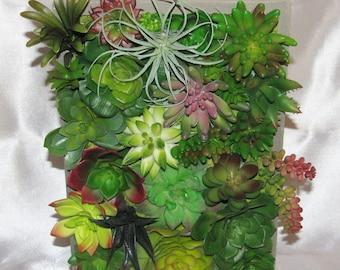 Beautiful Vertical Succulent Planter, Vertical Garden, Faux Succulent Arrangement, Desk Accessory, Artificial Succulent, Housewarming Gift