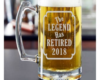 Retirement for Him, Retirement Gift Ideas, The Legend Has Retired, Retirement Glass, Retirement Beer Mug, Retirement Beer Mug, Boss Gift