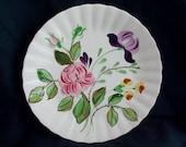 "Blue Ridge Plate JUNE BOUQUET 10.25"" Dinner Server Vintage SPI Dinnerware Hand Painted Purple Yellow Flowers Pink Rose (B02) 1064"