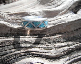 Sterling Silver Turquoise Chip Ring Size 7.5