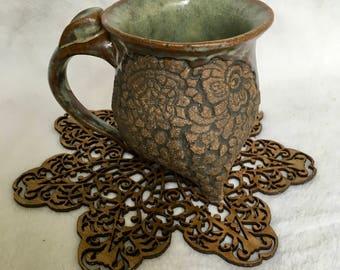 Green and Black Doily Mug