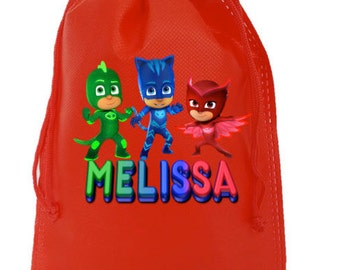 """PJ Masks Party, 10 Personalized  Favor Bags Pj Masks Themed Party, Drawstring Bags 6.5"""" x 9"""" inches"""