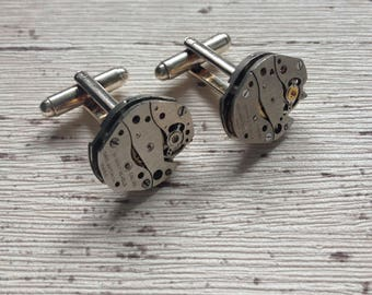 Steampunk cuff links, retro gifts, vintage men's jewellery, geek gifts, gift for him, gift for dad, boyfriend gift, upcycled watch movements