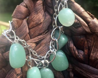 Silver Plated Premium Double Chain Bracelet with Genuine Aventurine Gemstone Pendants