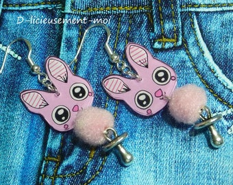 Sterling silver earrings 925 pink kawaii Bunny handpainted plastic crazy crazy tassel and dummy charm