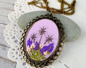 Lavender necklace for mom birthday gift for woman Lilac jewelry art Mini embroidery hoop art embroidery necklace for bride pendant womens