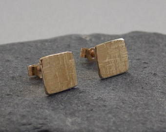 Hammered square gold studs