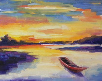 Landscape painting with boat, sunset painting, original oil painting, river painting, small painting