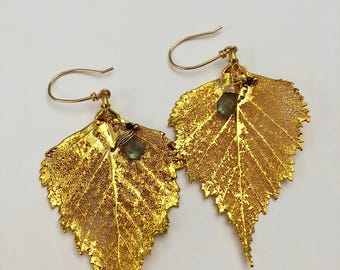 Gold Basswood Leaf Earrings with Gemstone Charms #